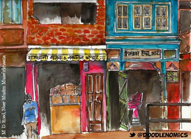 Shop front at M.D. Road (Moti Doongri Road) near Muslim Musafirkhaana, Jaipur. Rajasthan. India.
