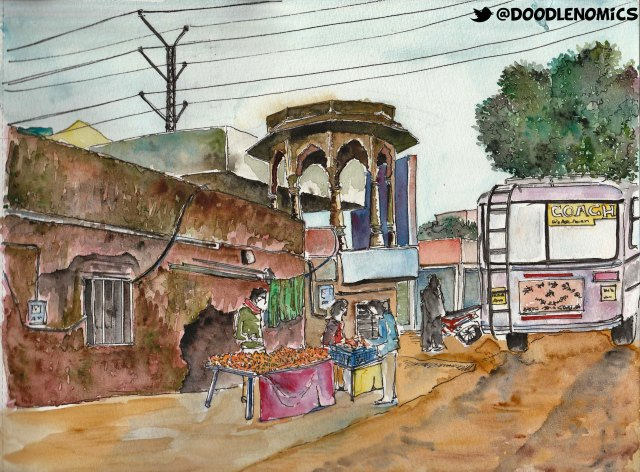 On the way to Amer in Jaipur (Rajasthan, India). Watercolor on 200gsm paper.