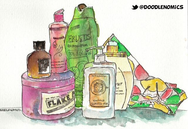 Some things from the bathroom- Perfume oil, shampoo, face cleanser, shower cap...