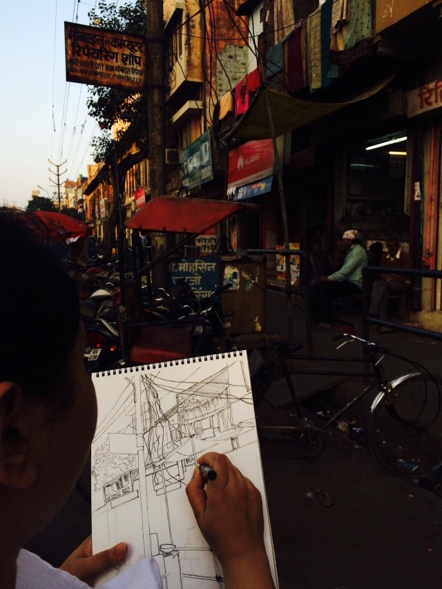 Sketching on Location, Moti Doongri Road, Jaipur