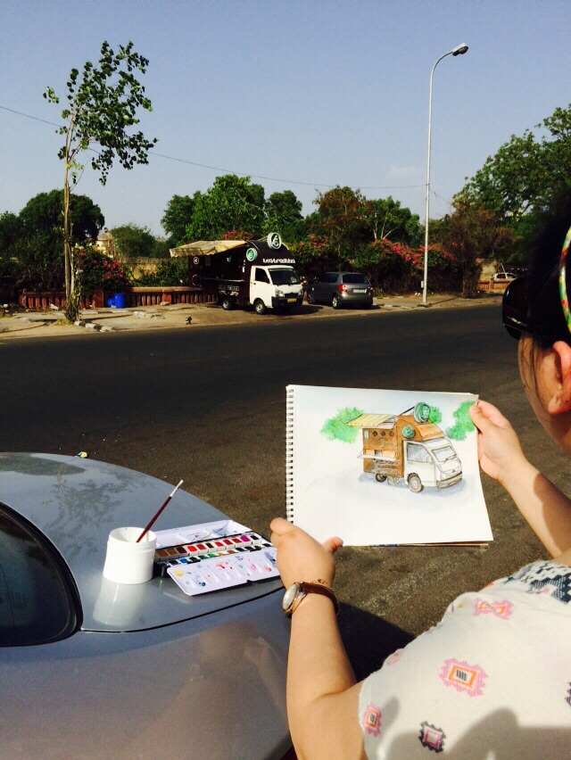 Sketching on location- Tea Tradition, Jaipur
