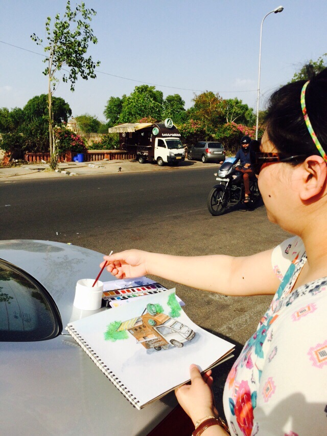 Sketching on Location- Tea Tradition, Jaipur